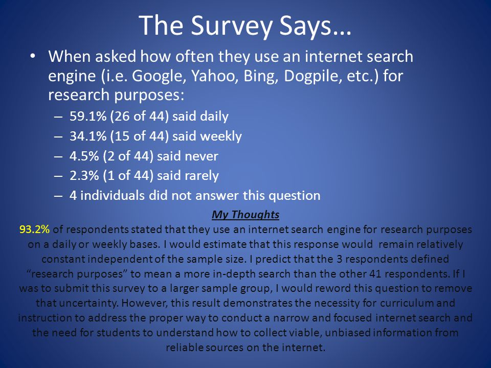 The Survey Says… When asked how often they use an internet search engine (i.e. Google, Yahoo, Bing, Dogpile, etc.) for research purposes: