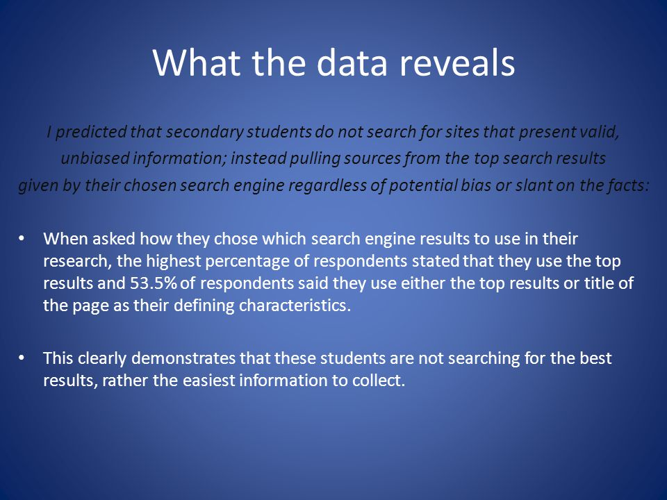 What the data reveals I predicted that secondary students do not search for sites that present valid,