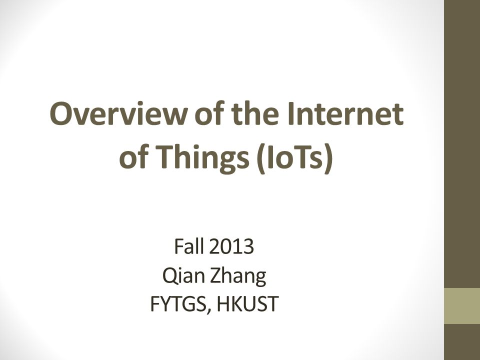Overview of the Internet of Things (IoTs)