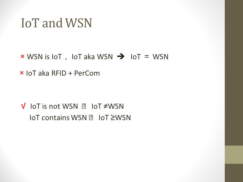 IoT and WSN × WSN is IoT, IoT aka WSN  IoT = WSN