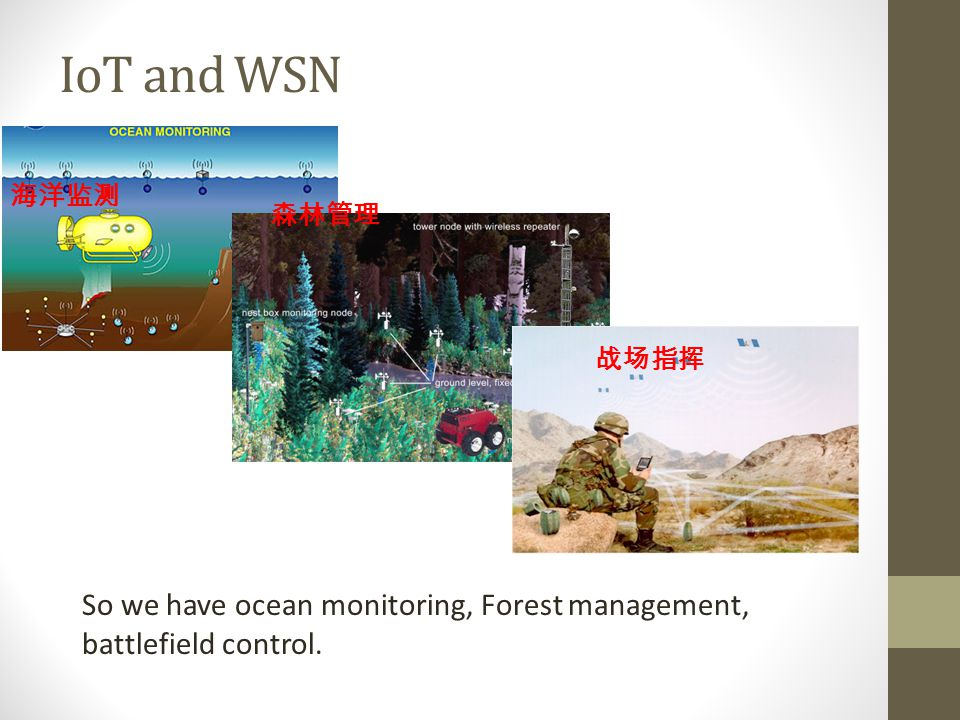 IoT and WSN 海洋监测 森林管理 战场指挥 So we have ocean monitoring, Forest management, battlefield control.