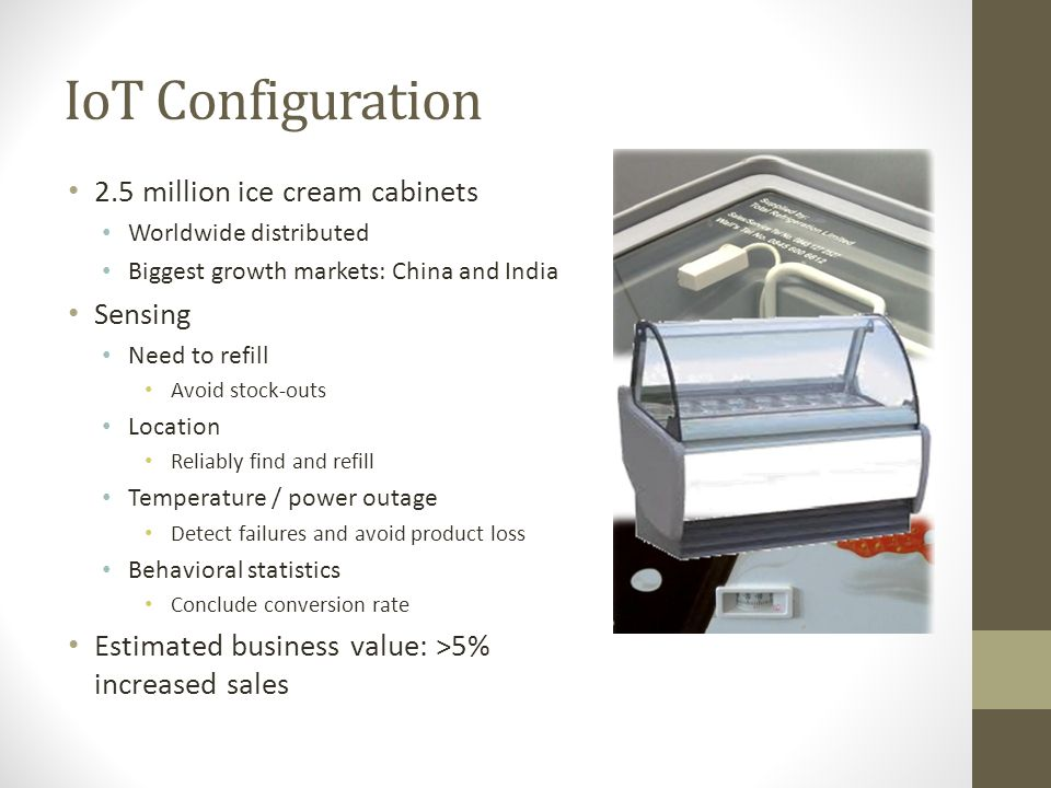 IoT Configuration 2.5 million ice cream cabinets Sensing