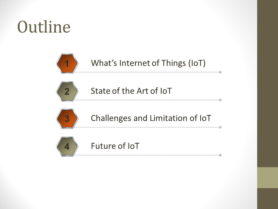 Outline 1 What's Internet of Things (IoT) 2 State of the Art of IoT 3