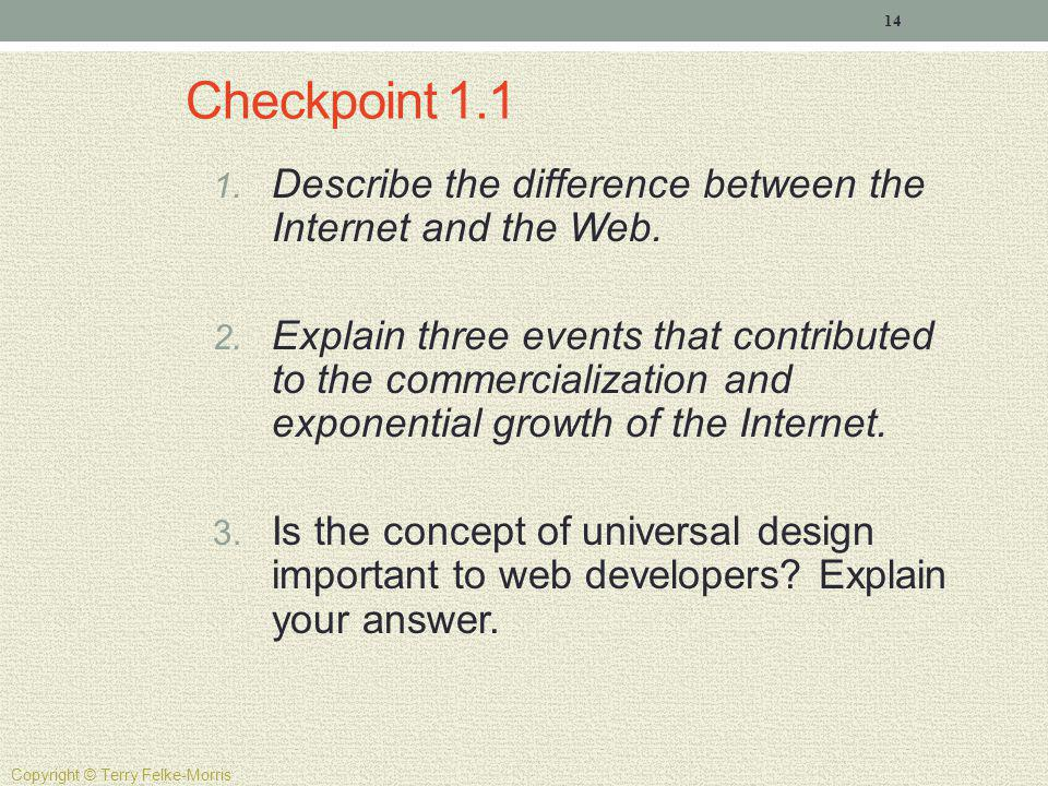 Checkpoint 1.1 Describe the difference between the Internet and the Web.