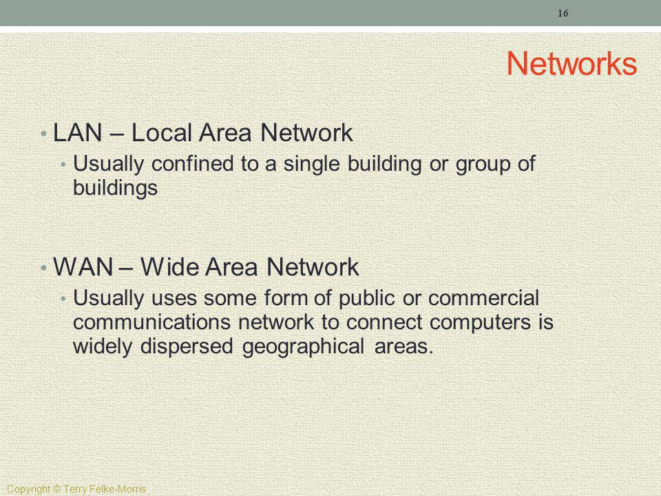 Networks LAN – Local Area Network WAN – Wide Area Network