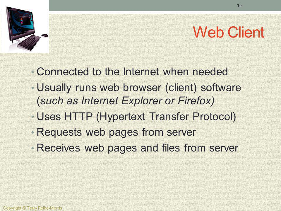 Web Client Connected to the Internet when needed