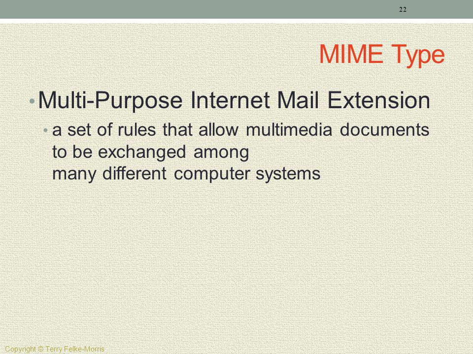 MIME Type Multi-Purpose Internet Mail Extension