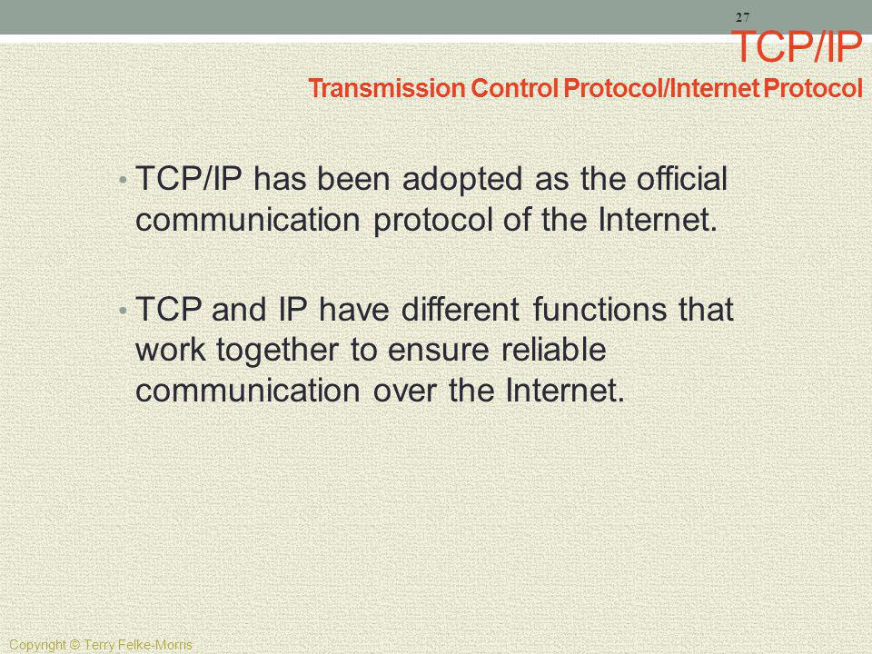 TCP/IP Transmission Control Protocol/Internet Protocol
