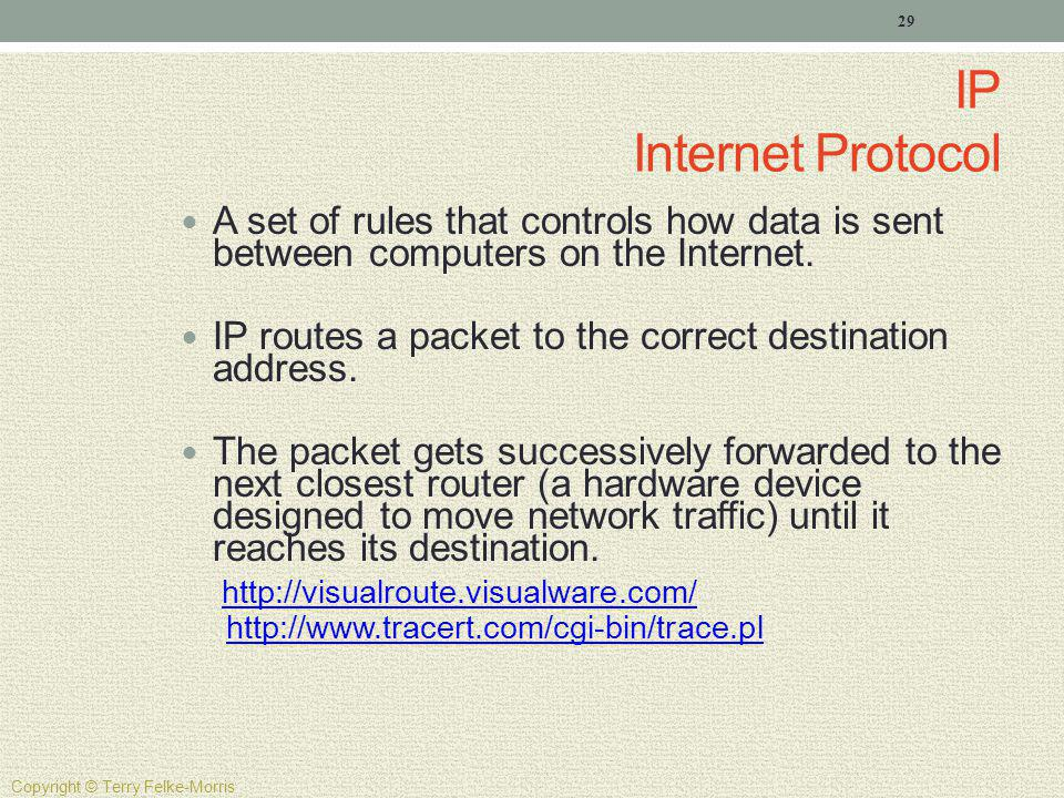 IP Internet Protocol A set of rules that controls how data is sent between computers on the Internet.