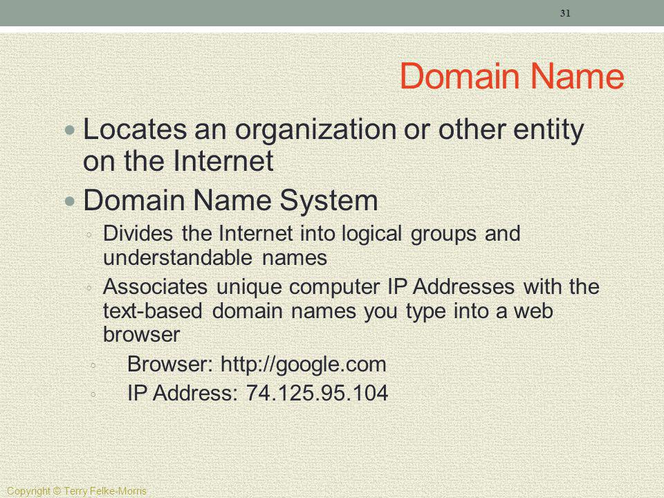Domain Name Locates an organization or other entity on the Internet