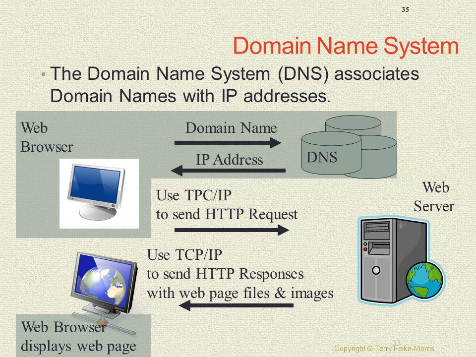 Domain Name System The Domain Name System (DNS) associates Domain Names with IP addresses. Web Browser.