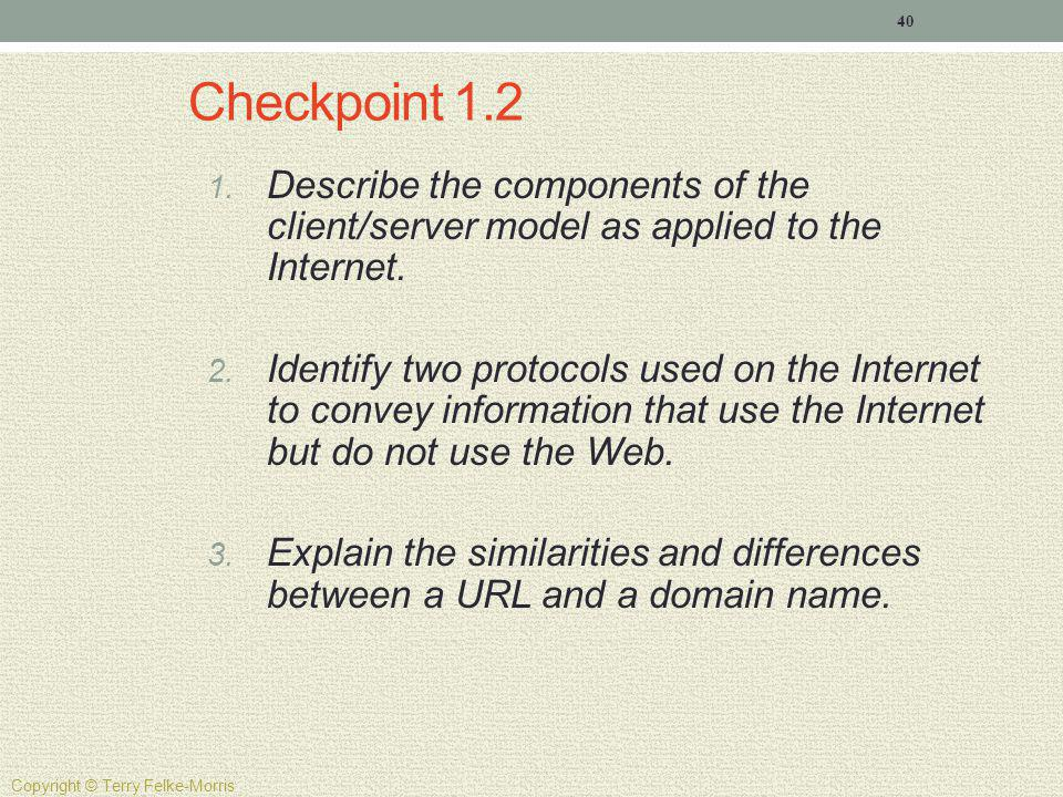 Checkpoint 1.2 Describe the components of the client/server model as applied to the Internet.