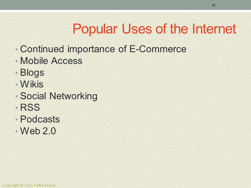 Popular Uses of the Internet