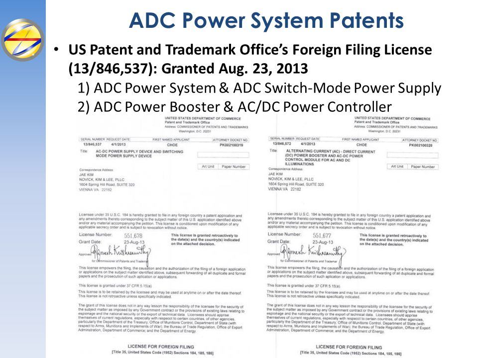 ADC Power System Patents