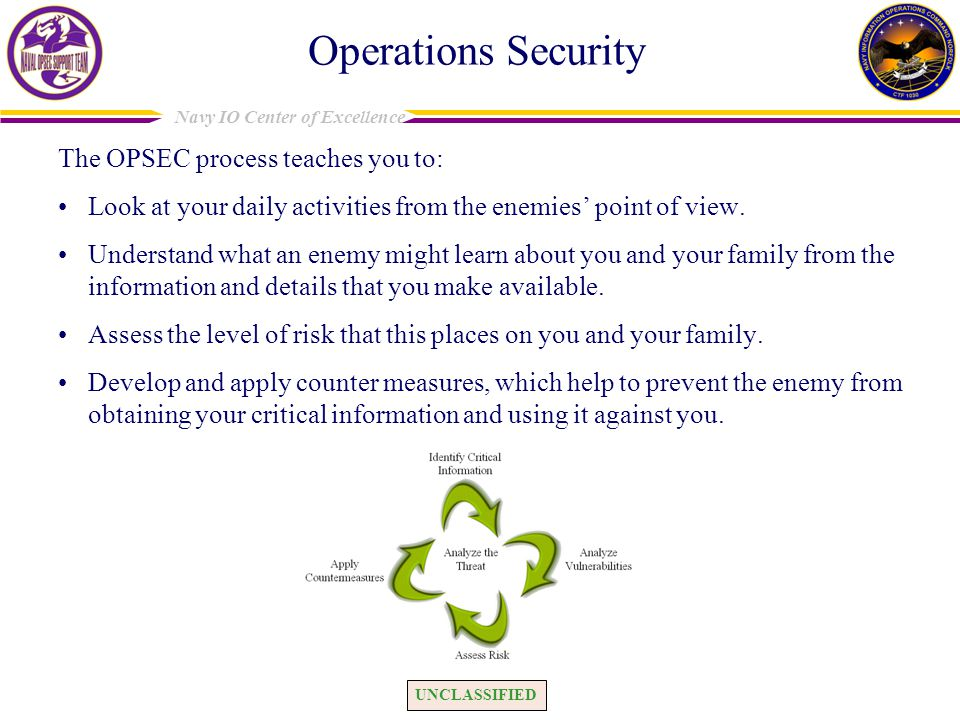 Operations Security The OPSEC process teaches you to: