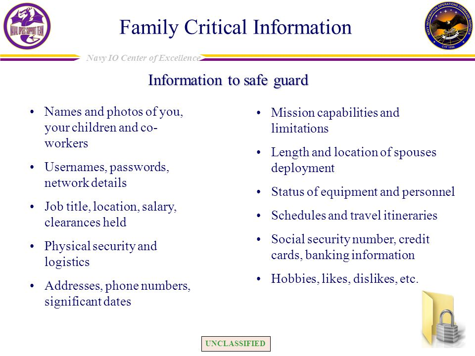 Family Critical Information