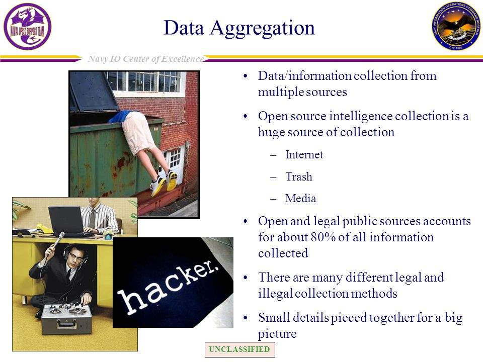 Data Aggregation Data/information collection from multiple sources