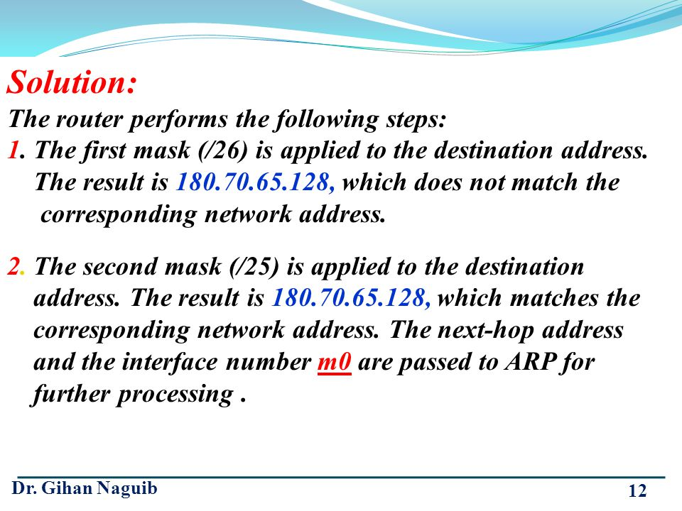 Solution: The router performs the following steps: