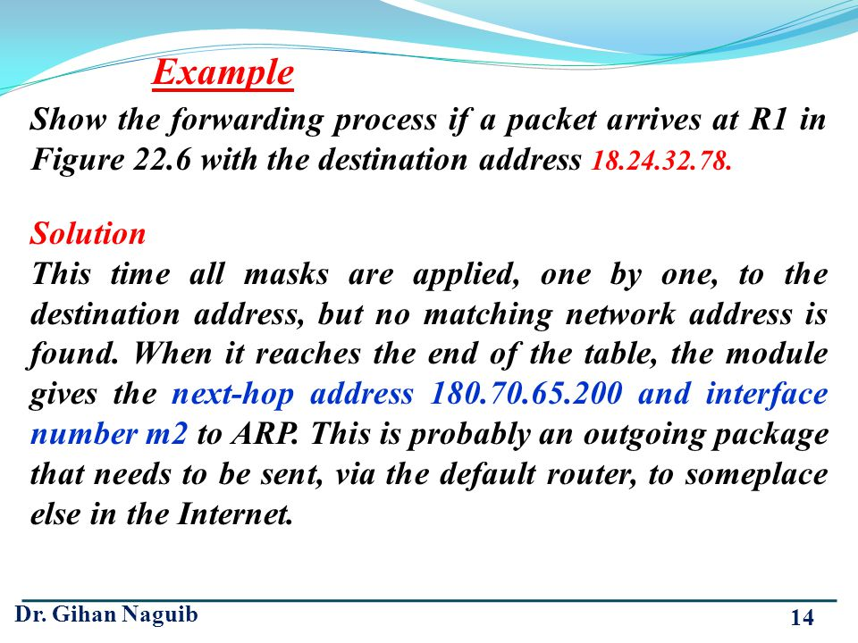 Example Show the forwarding process if a packet arrives at R1 in Figure 22.6 with the destination address 18.24.32.78.