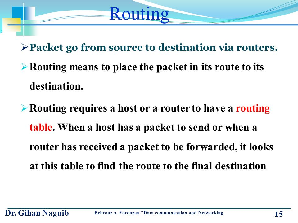 Routing Packet go from source to destination via routers. Routing means to place the packet in its route to its destination.