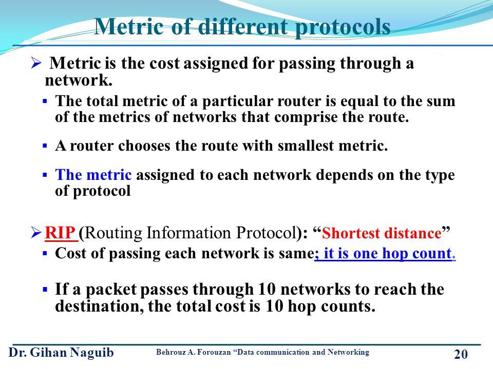 Metric of different protocols