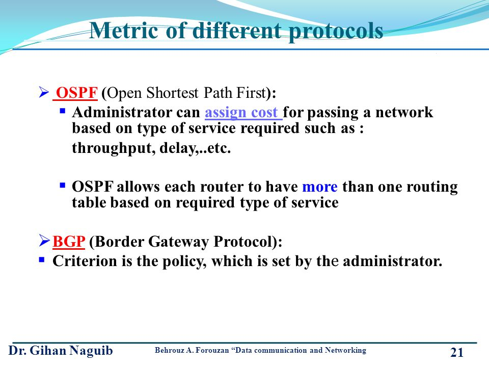 Metric of different protocols
