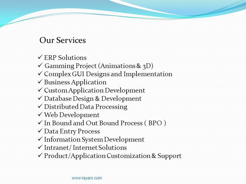 Our Services ERP Solutions Gamming Project (Animations & 3D)