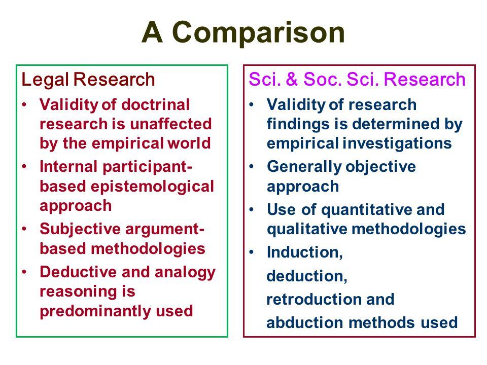 A Comparison Legal Research Sci. & Soc. Sci. Research