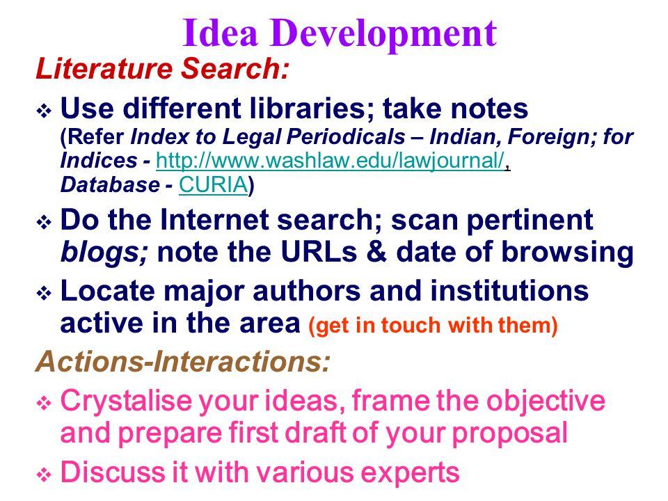 Idea Development Literature Search:
