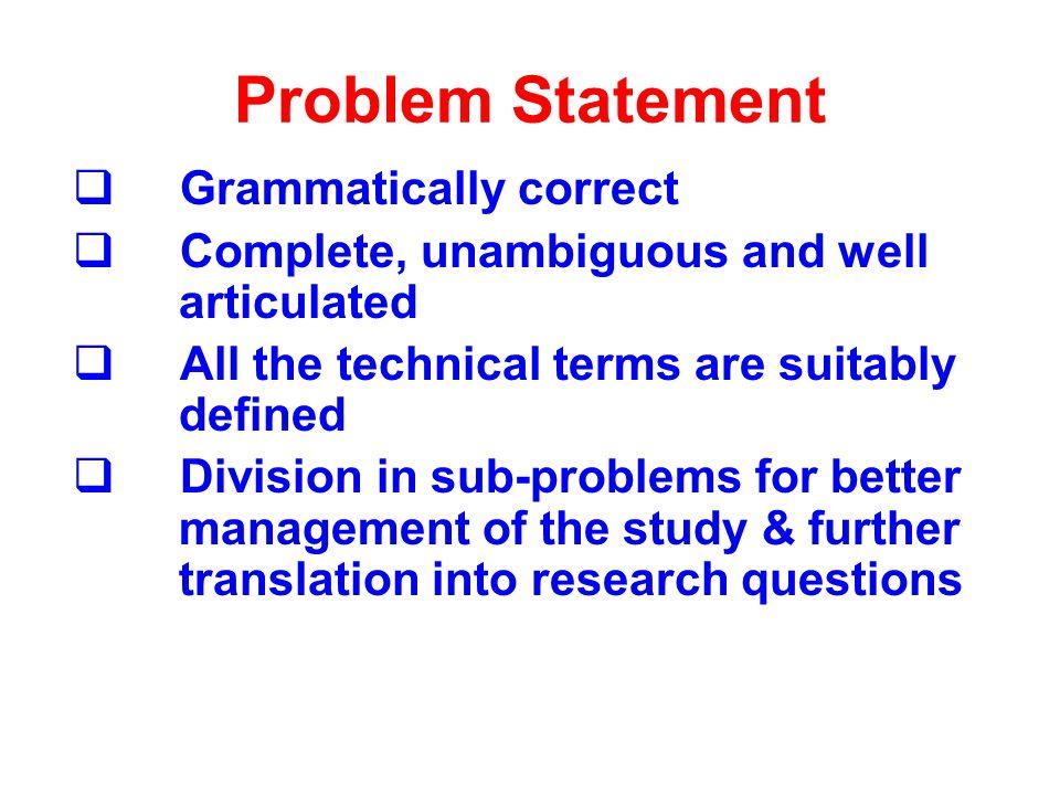 Problem Statement Grammatically correct