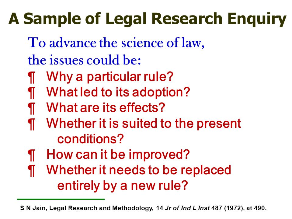 A Sample of Legal Research Enquiry
