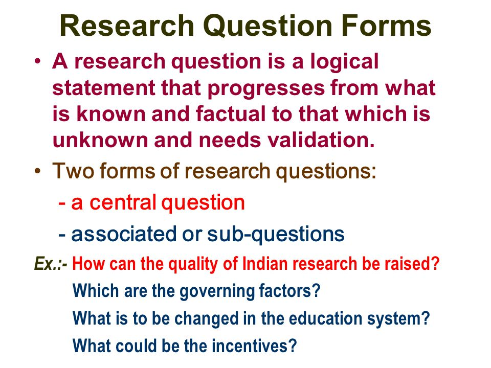 Research Question Forms