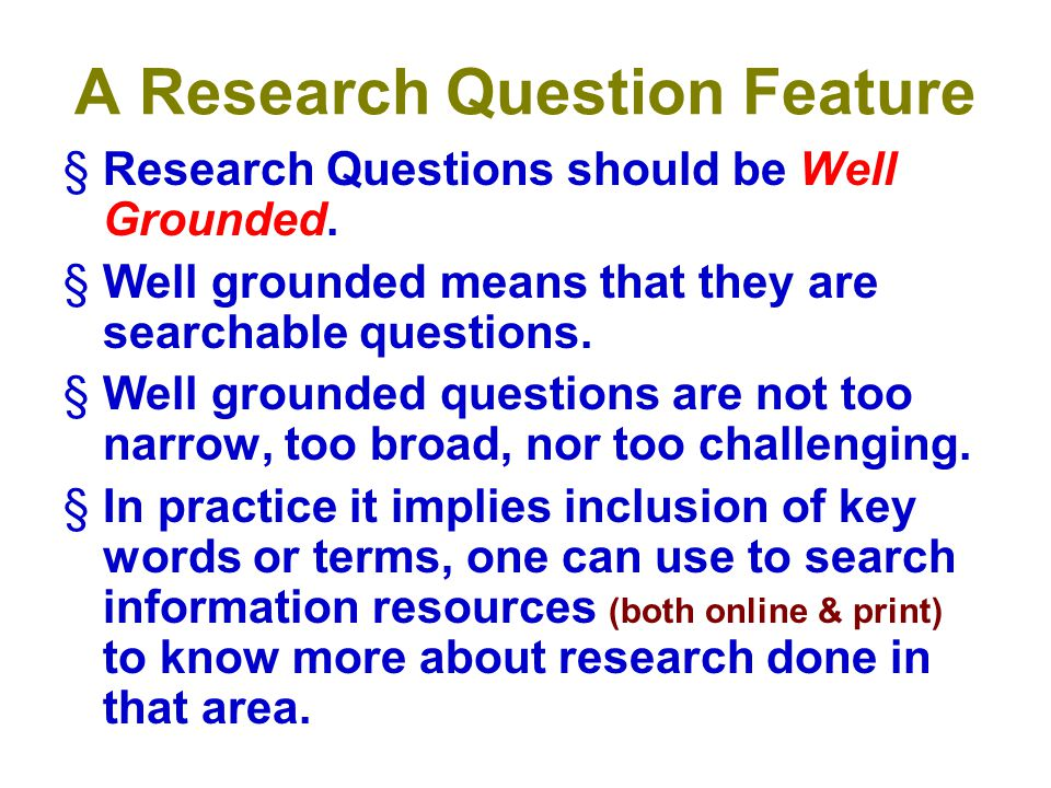 A Research Question Feature