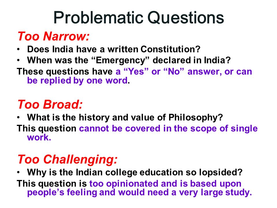 Problematic Questions