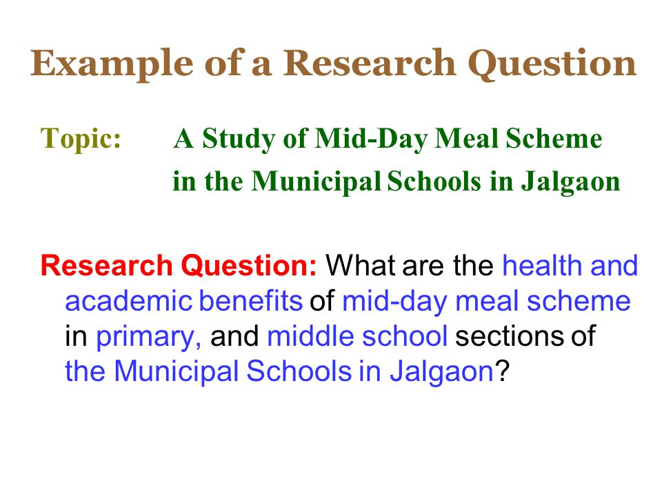 Example of a Research Question