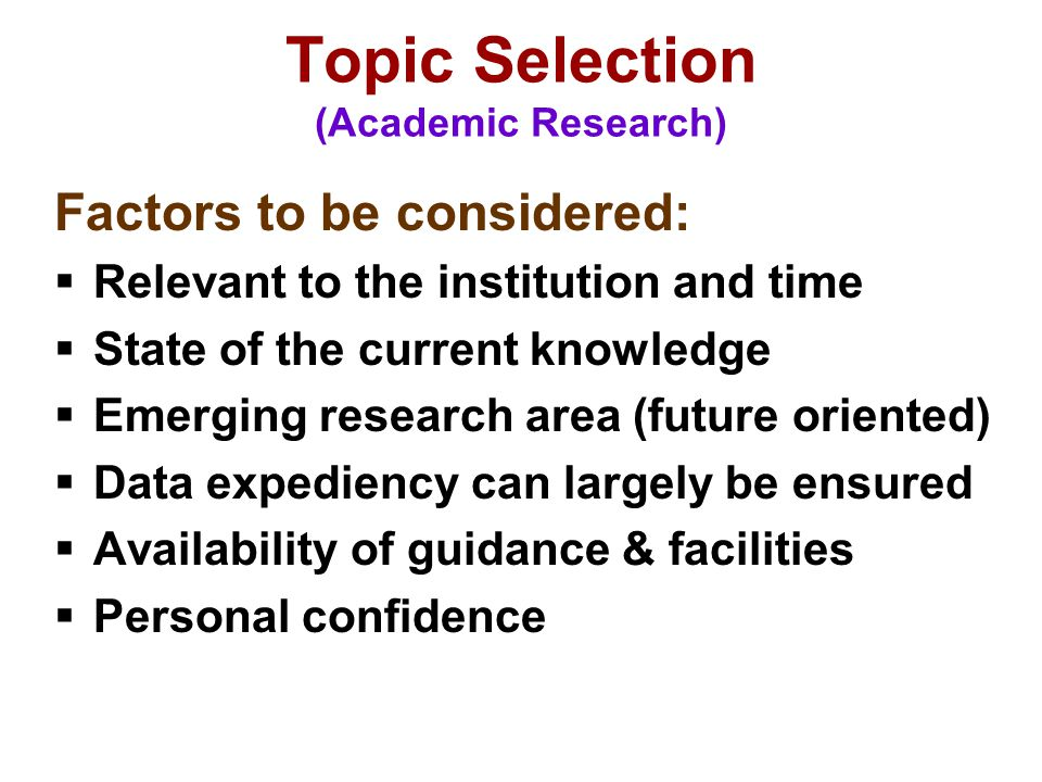 Topic Selection (Academic Research)
