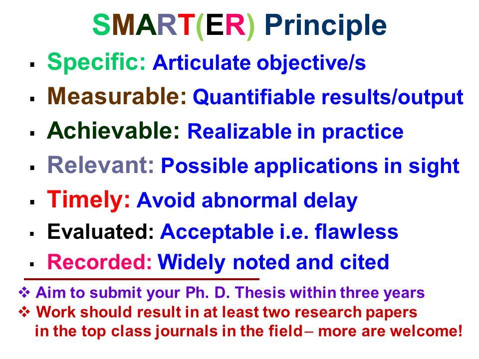 SMART(ER) Principle Specific: Articulate objective/s
