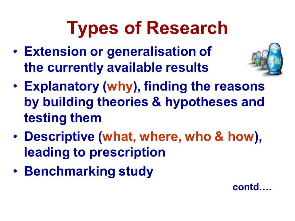 Types of Research Extension or generalisation of the currently available results.