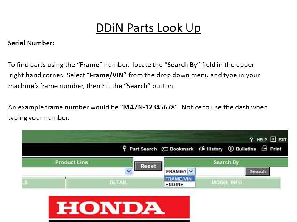 DDiN Parts Look Up