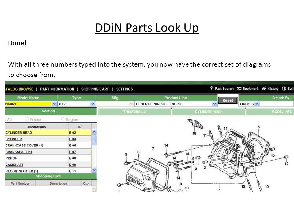 DDiN Parts Look Up Done.