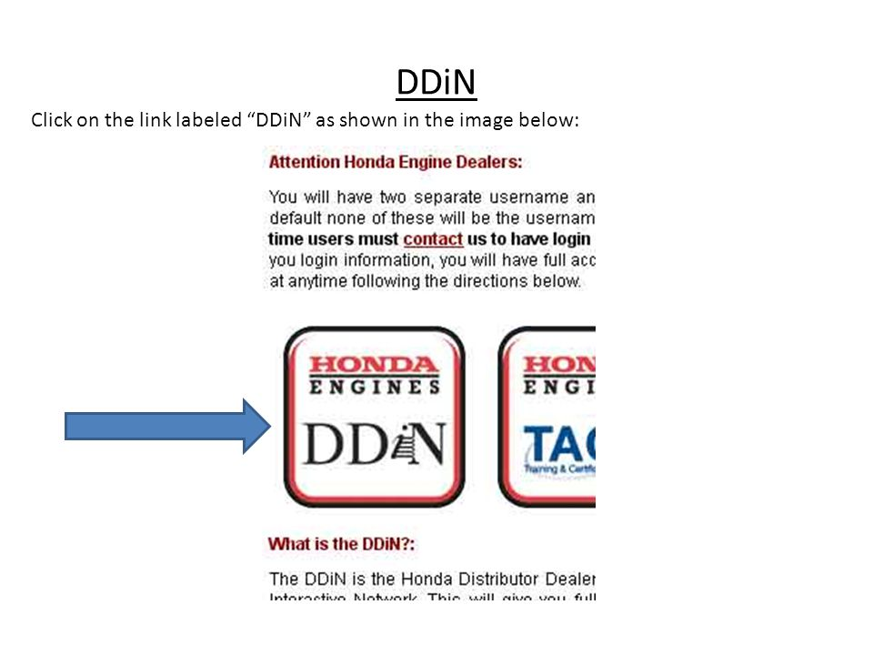 DDiN Click on the link labeled DDiN as shown in the image below: