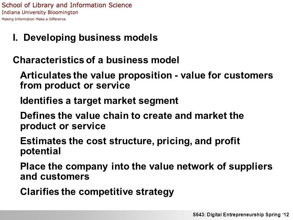 I. Developing business models