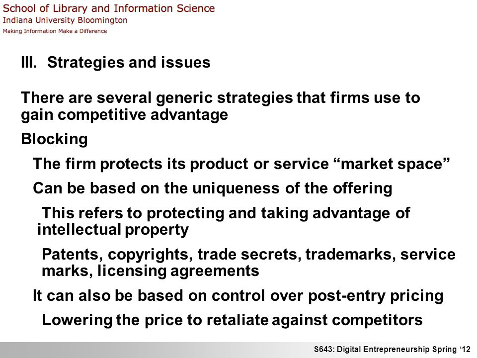 III. Strategies and issues