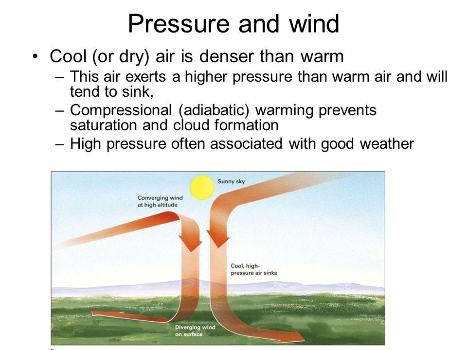 Pressure and wind Cool (or dry) air is denser than warm