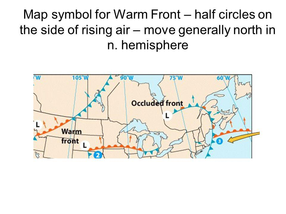 Map symbol for Warm Front – half circles on the side of rising air – move generally north in n.