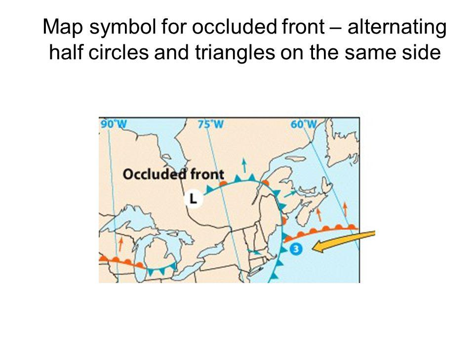Map symbol for occluded front – alternating half circles and triangles on the same side
