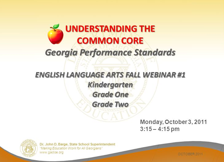 UNDERSTANDING THE COMMON CORE Georgia Performance Standards ENGLISH LANGUAGE ARTS FALL WEBINAR #1 Kindergarten Grade One Grade Two
