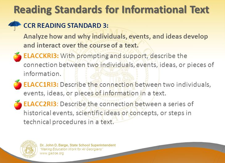 Reading Standards for Informational Text