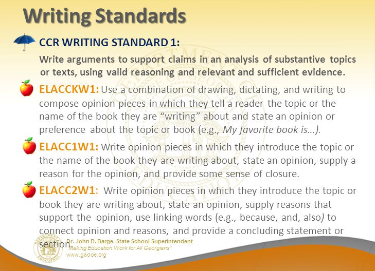 Writing Standards CCR WRITING STANDARD 1: