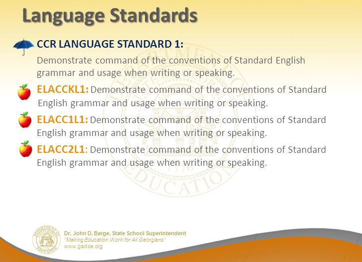 Language Standards CCR LANGUAGE STANDARD 1: